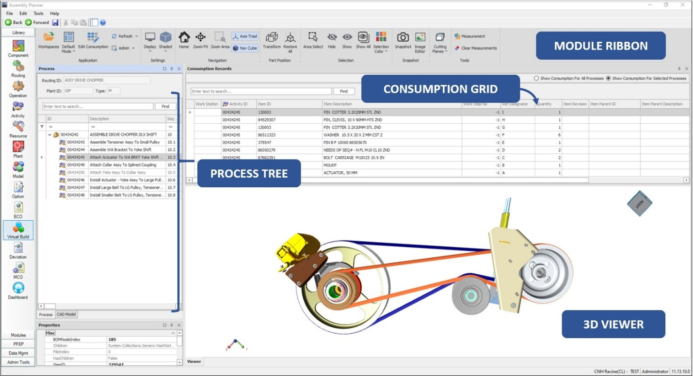Consumption descriptive view of 3D Module in Assembly Planner. 3D Viewer, Module Ribbon, Process Tree, and Consumption Grid