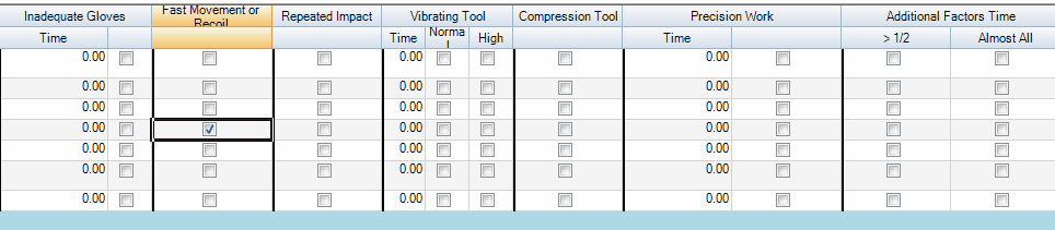 Ocra checkboxes for inadequate gloves, fast movement or recoil, repeated impact, vibrating tool normal or high, compression tool, precision work, and additional factor times.