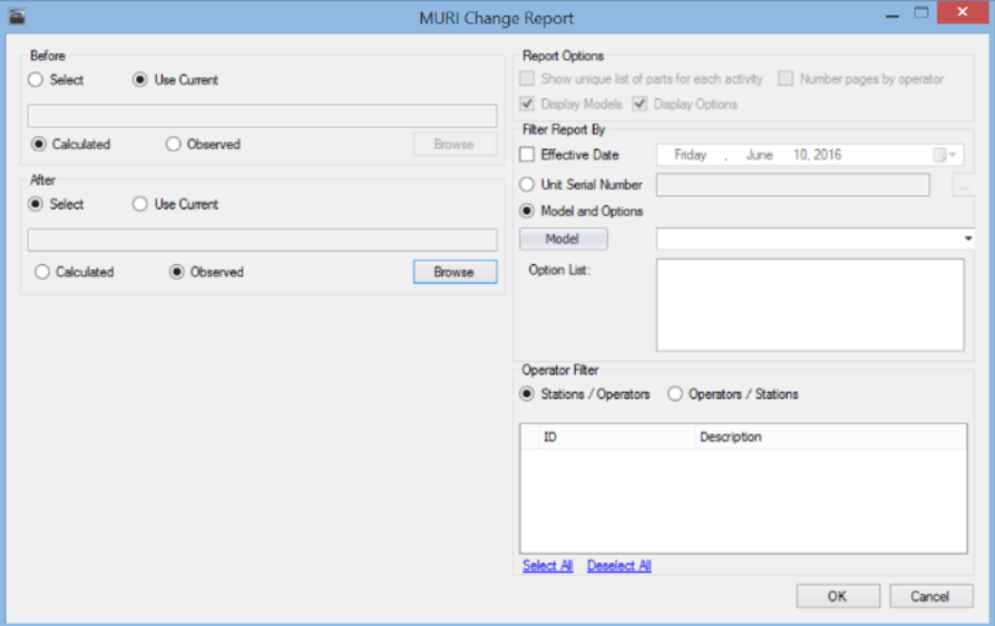 MURI Change Report Settings and Report Options.